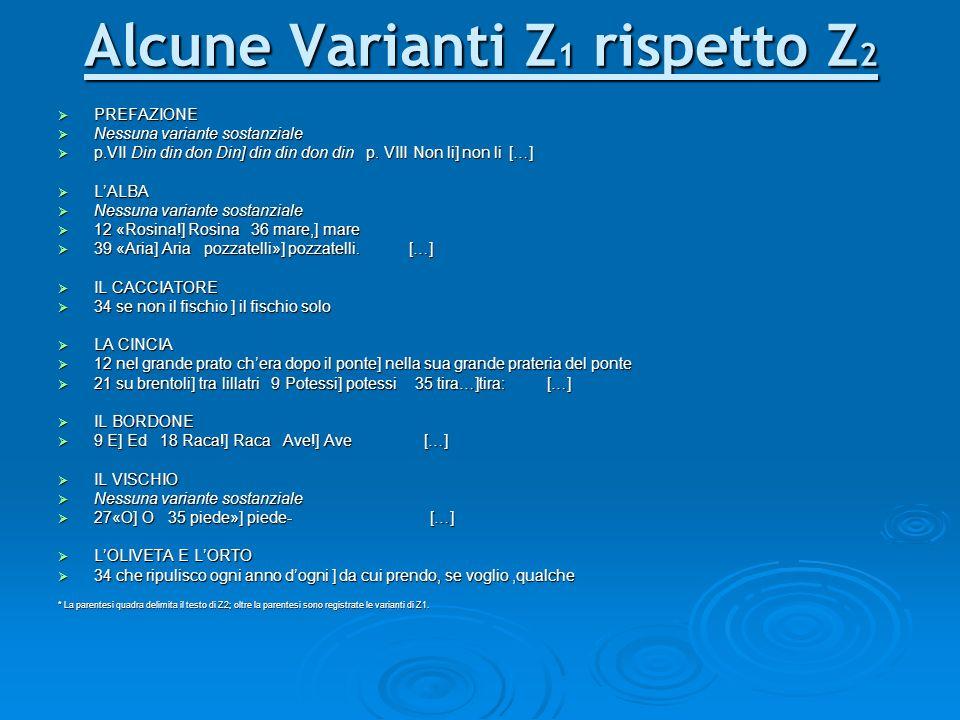 Alcune Varianti Z1 rispetto Z2