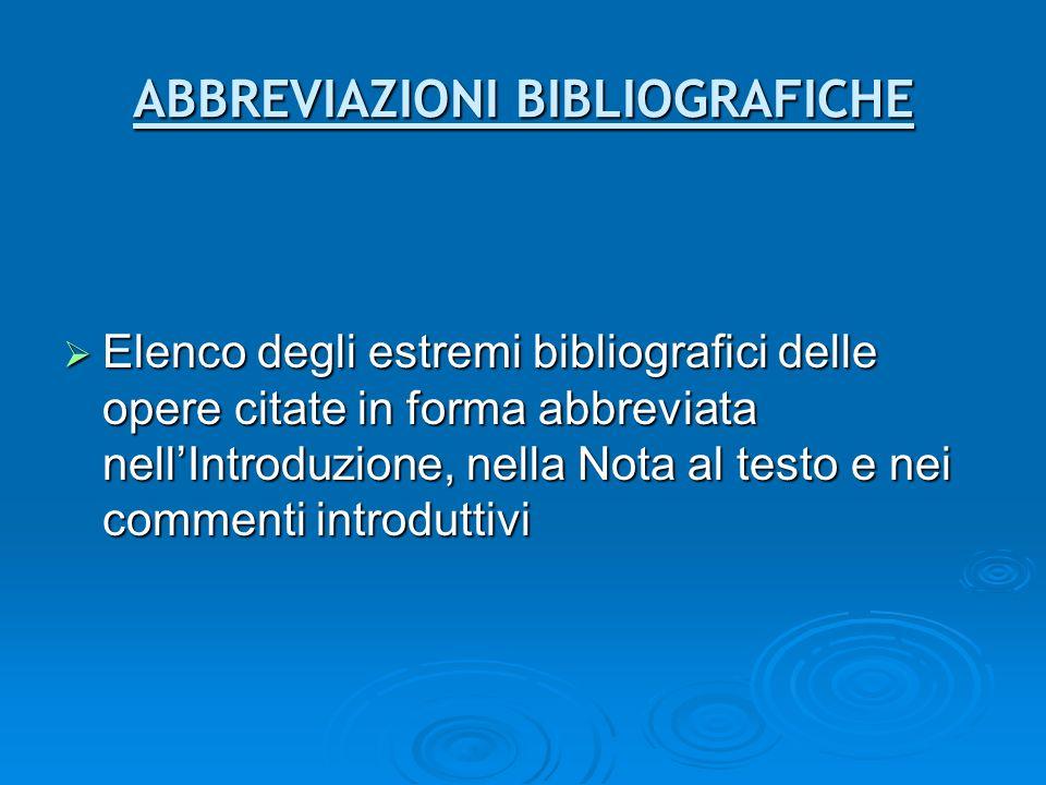 ABBREVIAZIONI BIBLIOGRAFICHE