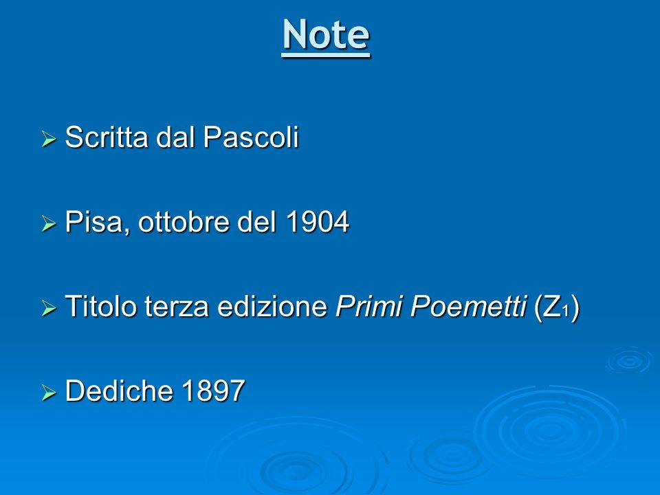 Note Scritta dal Pascoli Pisa, ottobre del 1904