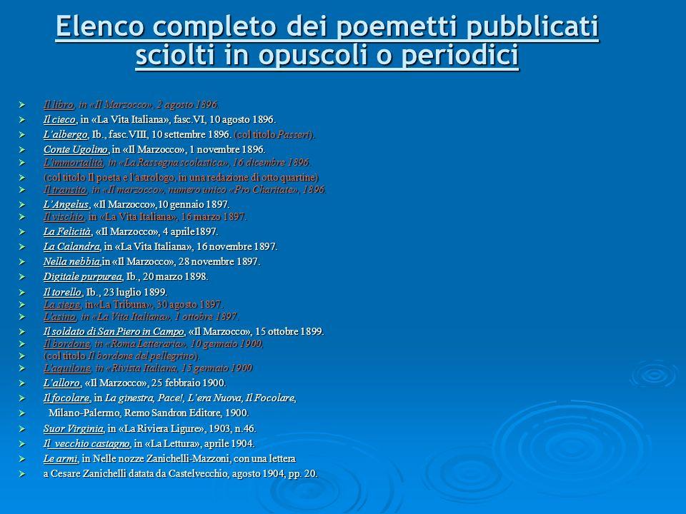 Elenco completo dei poemetti pubblicati sciolti in opuscoli o periodici