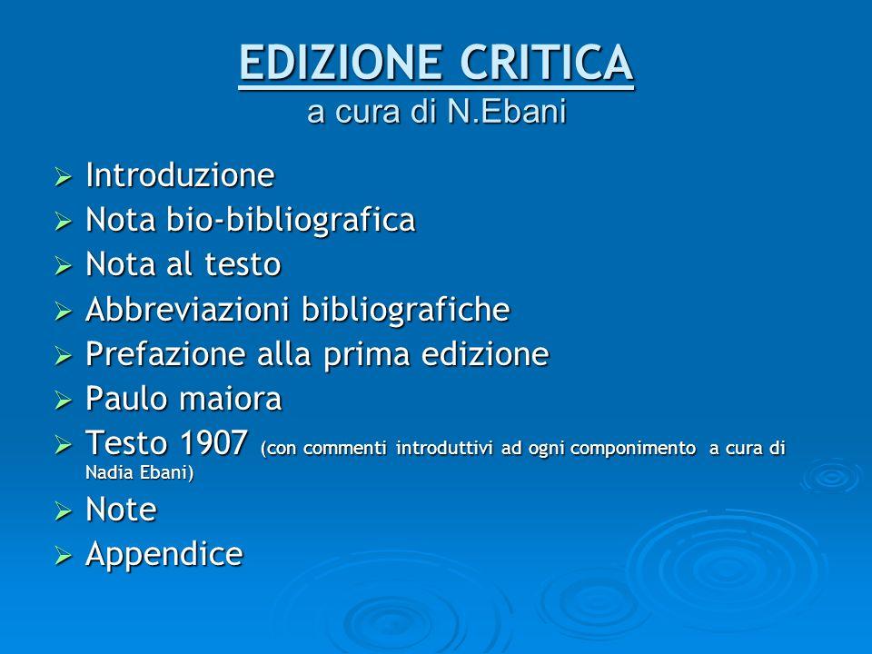 EDIZIONE CRITICA a cura di N.Ebani