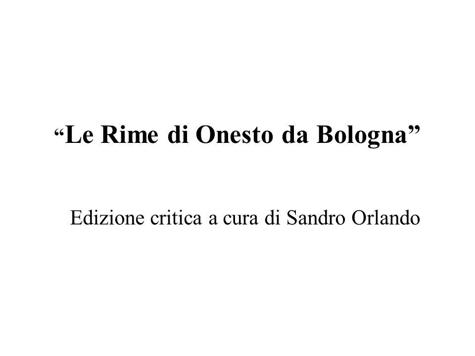 Le Rime di Onesto da Bologna