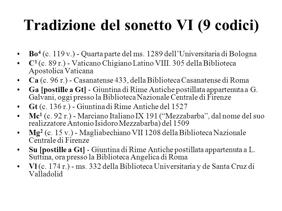 Tradizione del sonetto VI (9 codici)