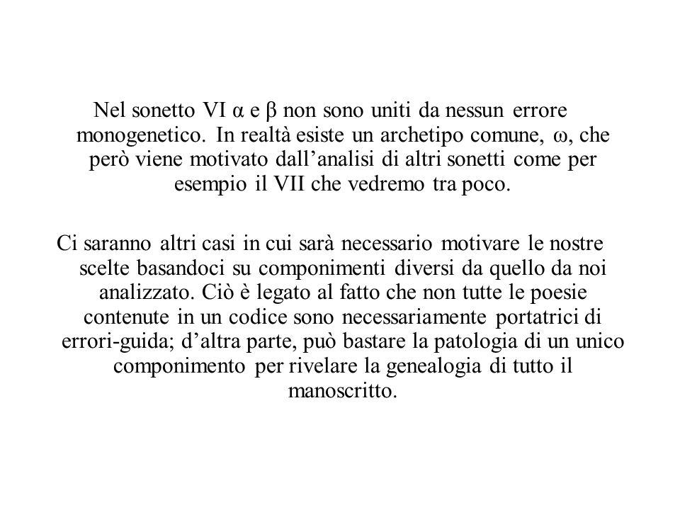 Nel sonetto VI α e β non sono uniti da nessun errore monogenetico