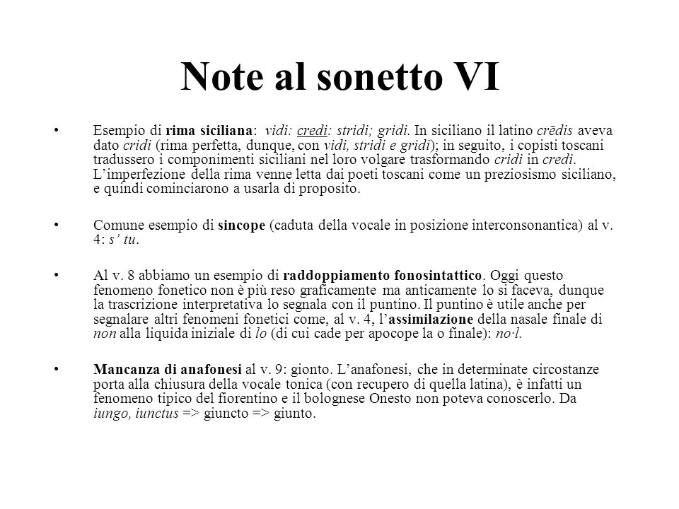 Note al sonetto VI