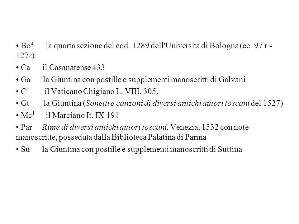 Bo4 la quarta sezione del cod. 1289 dell Università di Bologna (cc