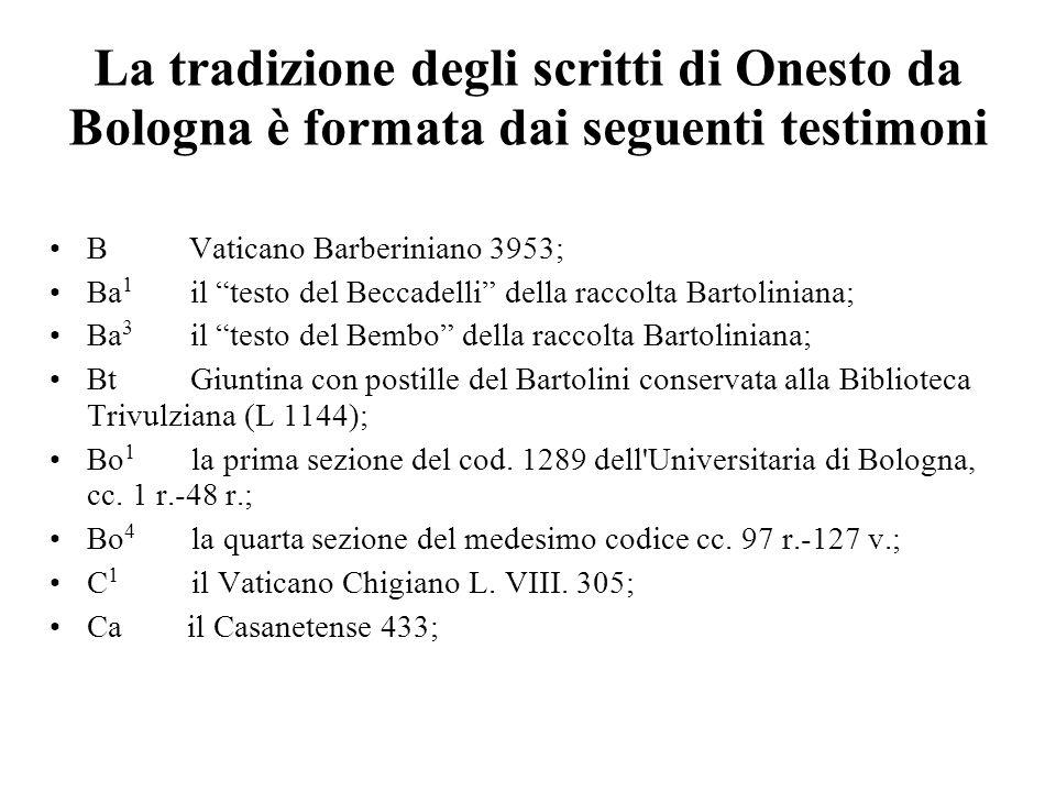 La tradizione degli scritti di Onesto da Bologna è formata dai seguenti testimoni