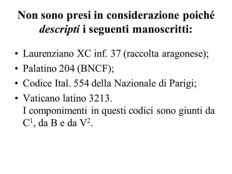 Non sono presi in considerazione poiché descripti i seguenti manoscritti: