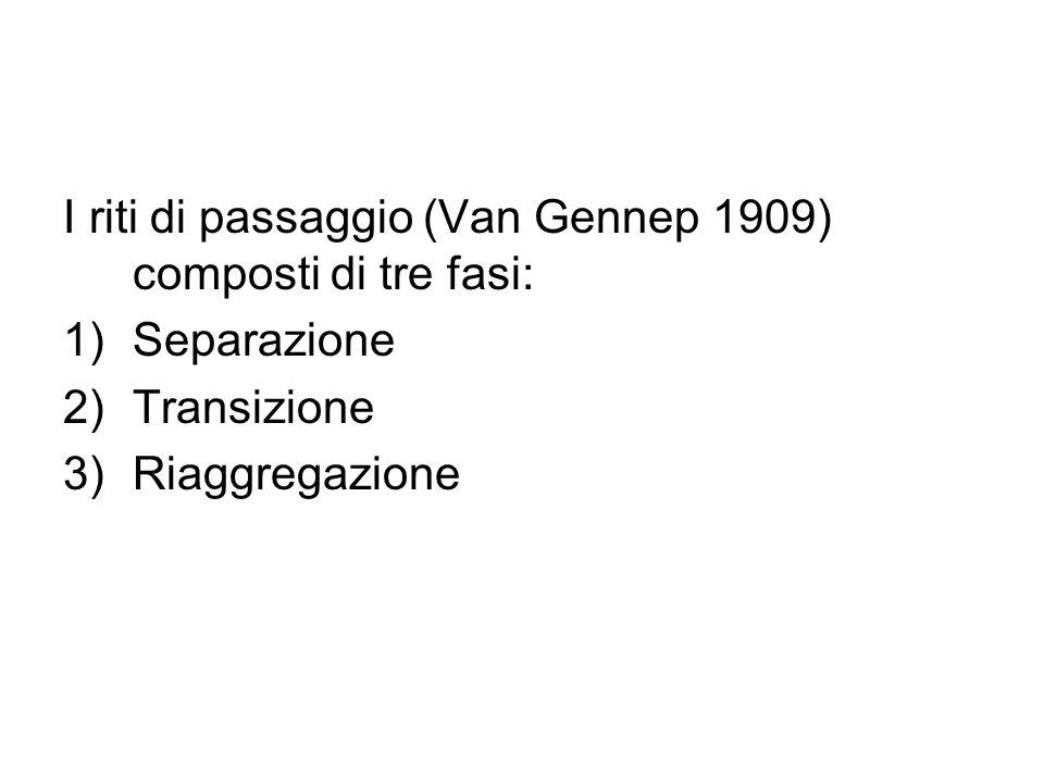I riti di passaggio (Van Gennep 1909) composti di tre fasi: