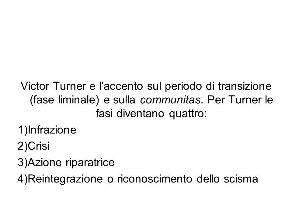 Victor Turner e l'accento sul periodo di transizione (fase liminale) e sulla communitas. Per Turner le fasi diventano quattro: