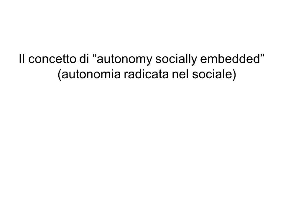 Il concetto di autonomy socially embedded (autonomia radicata nel sociale)