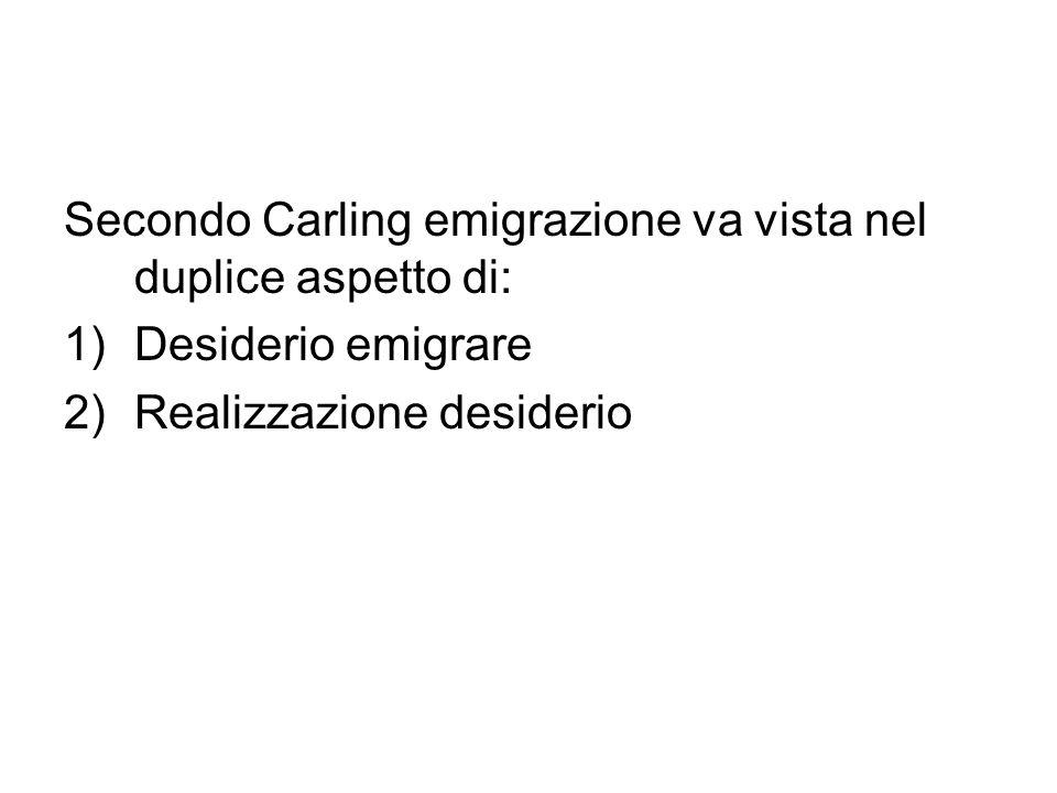 Secondo Carling emigrazione va vista nel duplice aspetto di: