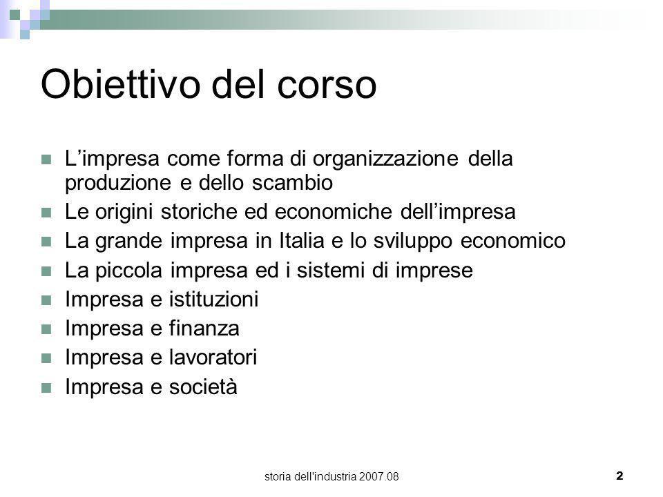 Obiettivo del corso L'impresa come forma di organizzazione della produzione e dello scambio. Le origini storiche ed economiche dell'impresa.