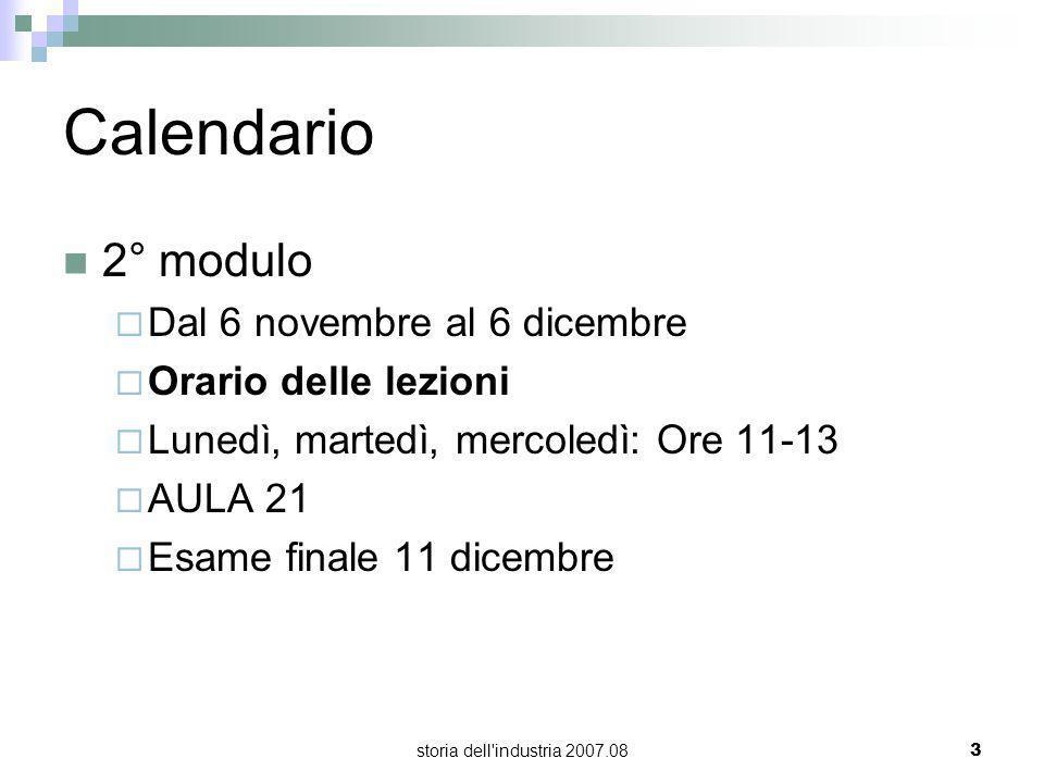 Calendario 2° modulo Dal 6 novembre al 6 dicembre Orario delle lezioni