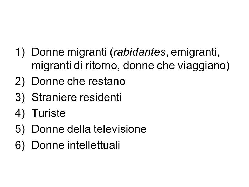 Donne migranti (rabidantes, emigranti, migranti di ritorno, donne che viaggiano)