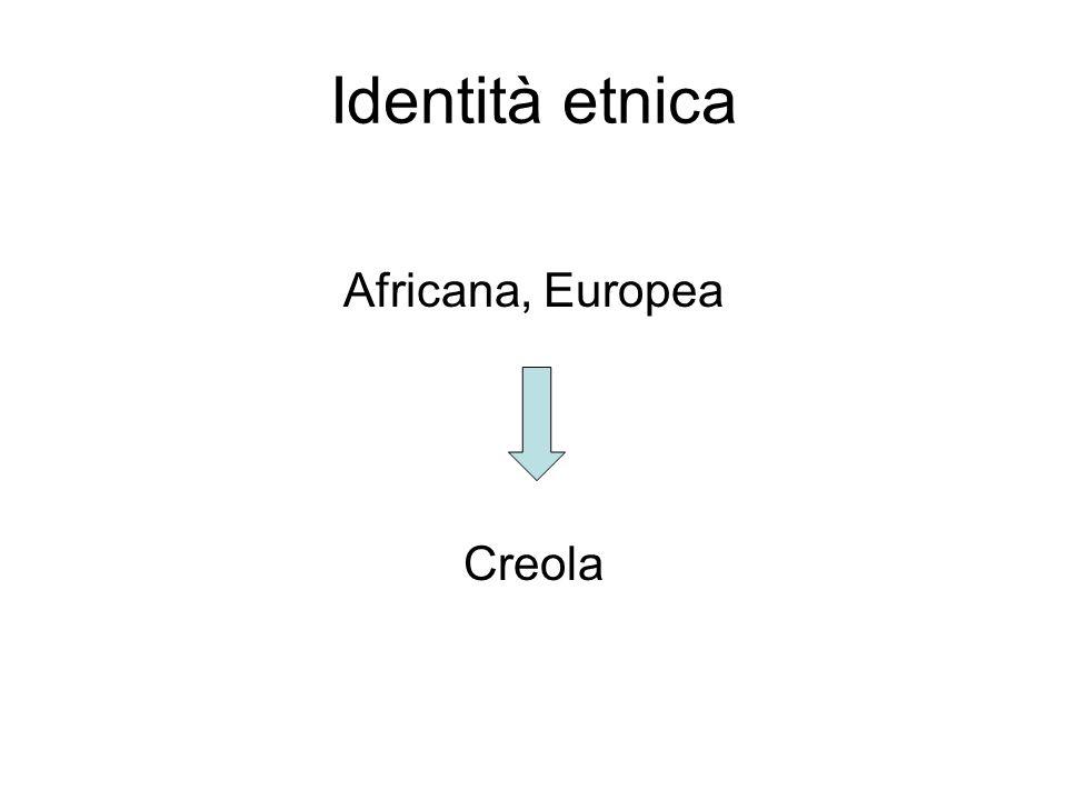 Identità etnica Africana, Europea Creola