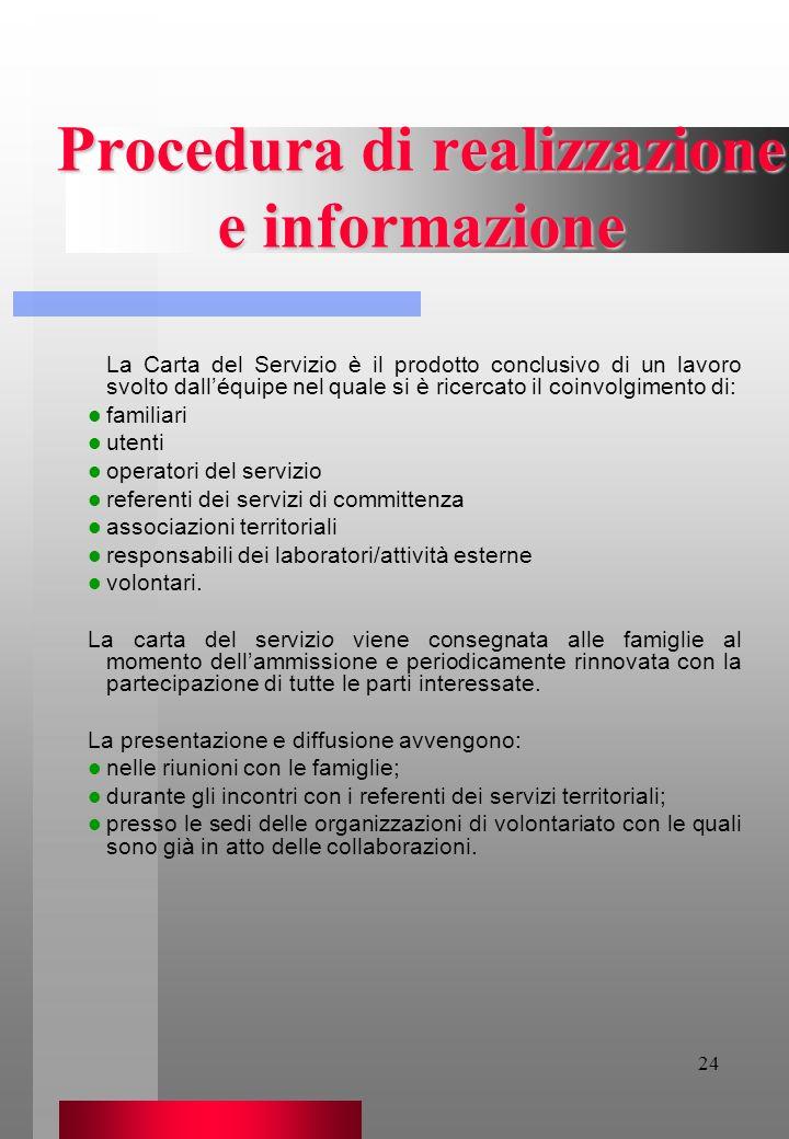 Procedura di realizzazione e informazione