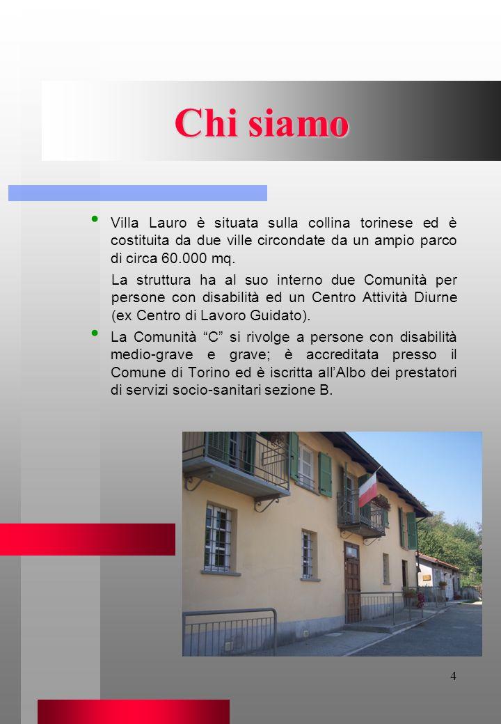 Chi siamo Villa Lauro è situata sulla collina torinese ed è costituita da due ville circondate da un ampio parco di circa 60.000 mq.