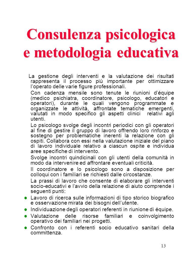 Consulenza psicologica e metodologia educativa