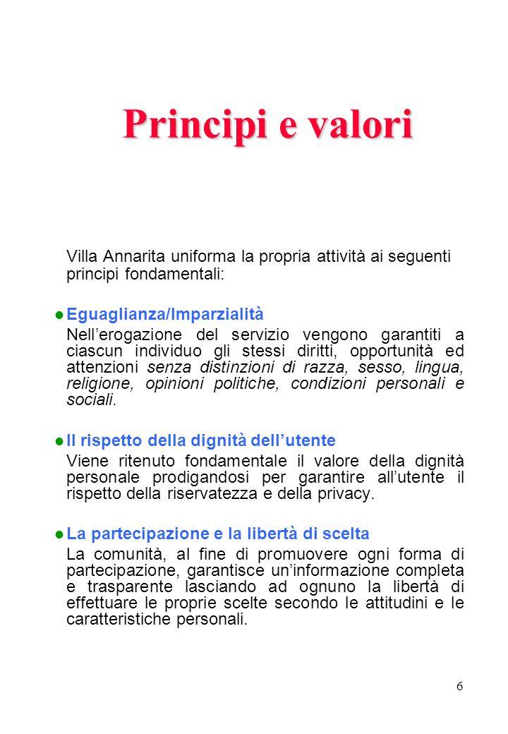 Principi e valori Villa Annarita uniforma la propria attività ai seguenti principi fondamentali: Eguaglianza/Imparzialità.
