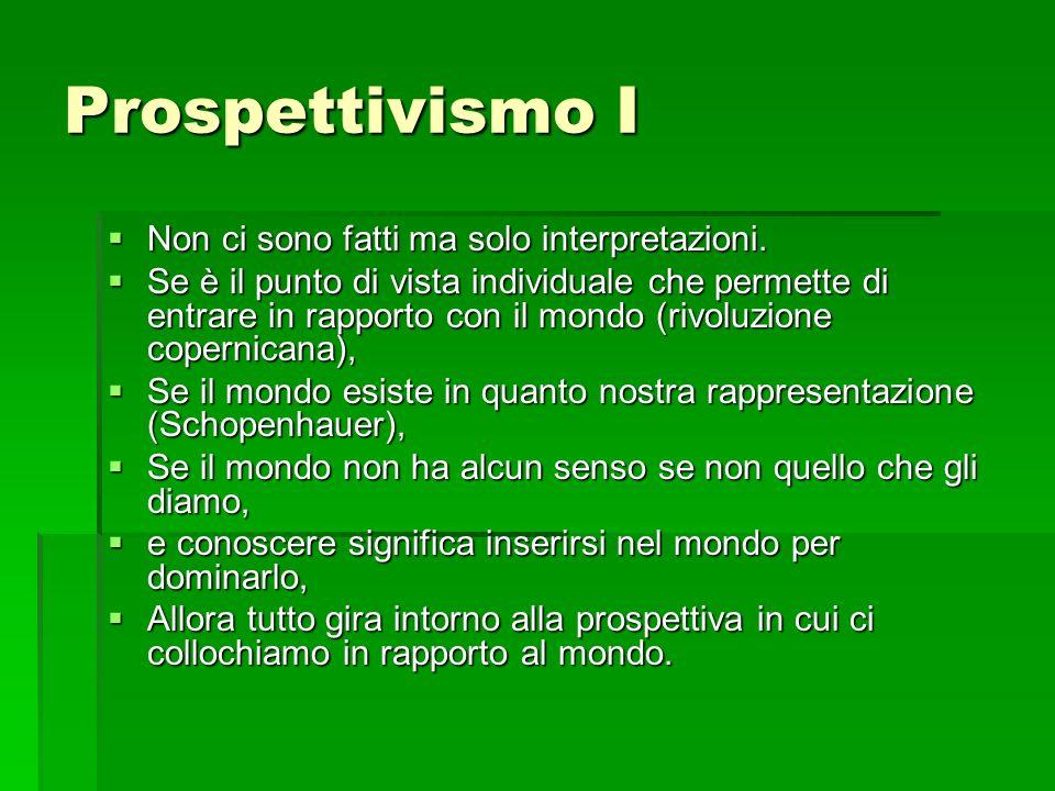 Prospettivismo I Non ci sono fatti ma solo interpretazioni.