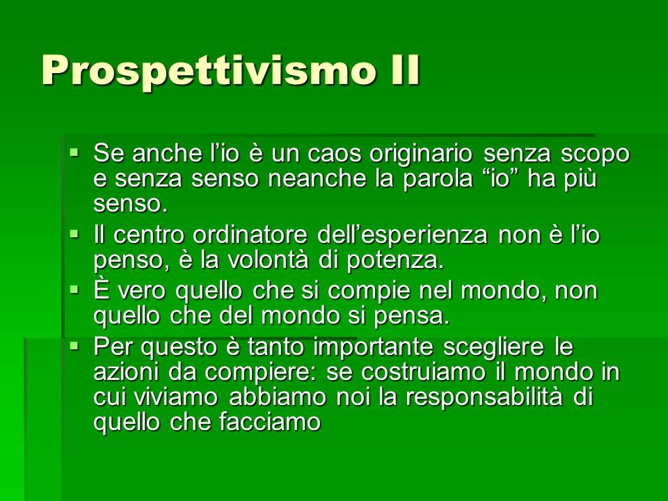 Prospettivismo II Se anche l'io è un caos originario senza scopo e senza senso neanche la parola io ha più senso.