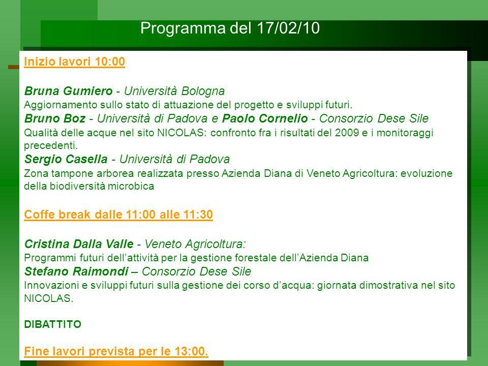 Programma del 17/02/10 Inizio lavori 10:00