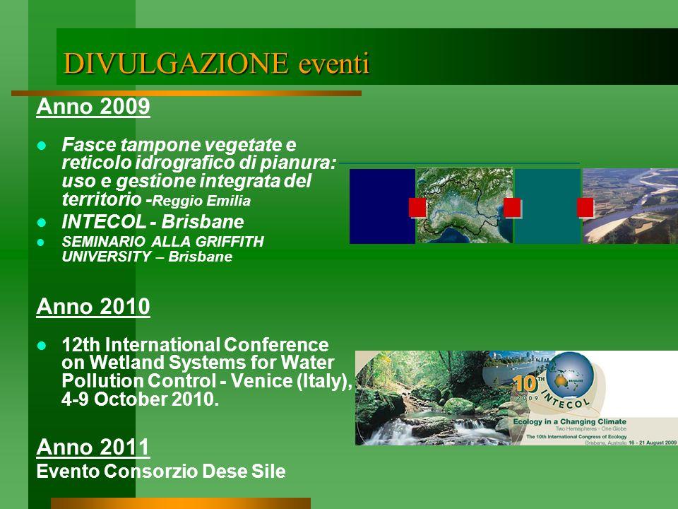 DIVULGAZIONE eventi Anno 2009 Anno 2010 Anno 2011