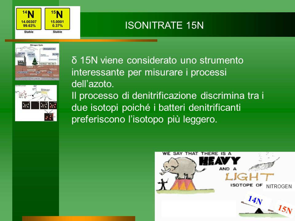 ISONITRATE 15N δ 15N viene considerato uno strumento interessante per misurare i processi dell'azoto.
