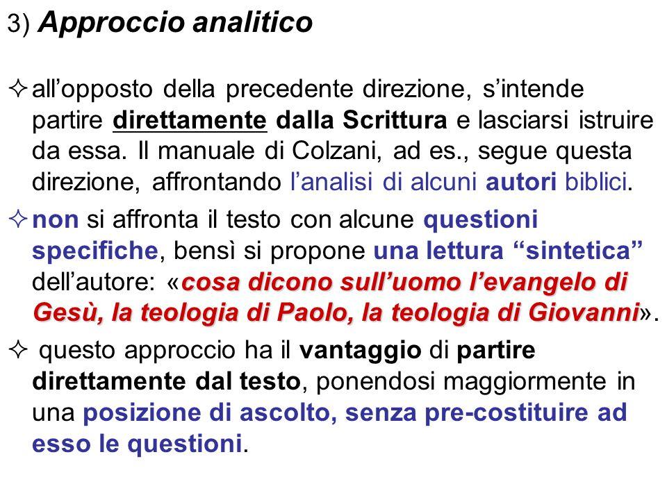 3) Approccio analitico