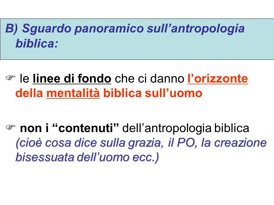 B) Sguardo panoramico sull'antropologia biblica:
