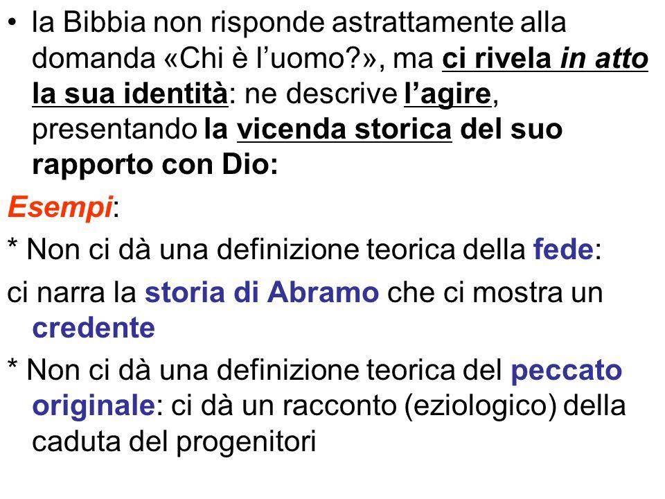 la Bibbia non risponde astrattamente alla domanda «Chi è l'uomo