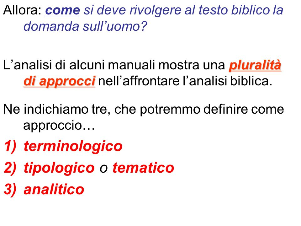 terminologico tipologico o tematico analitico