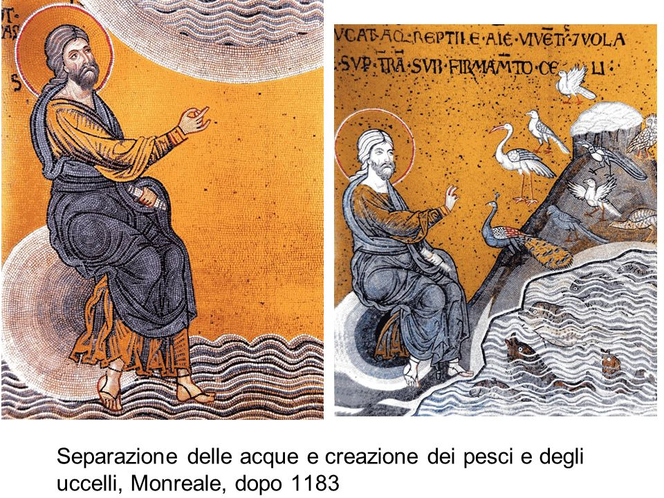 Separazione delle acque e creazione dei pesci e degli uccelli, Monreale, dopo 1183