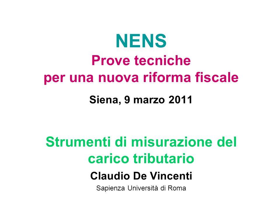 NENS Prove tecniche per una nuova riforma fiscale Siena, 9 marzo 2011