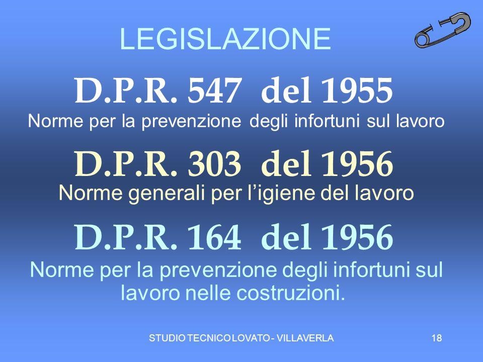 LEGISLAZIONE D.P.R. 547 del 1955. Norme per la prevenzione degli infortuni sul lavoro. D.P.R. 303 del 1956.
