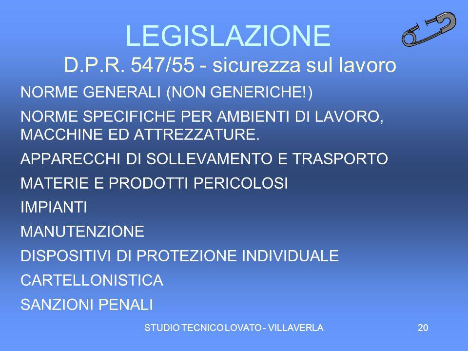 LEGISLAZIONE D.P.R. 547/55 - sicurezza sul lavoro
