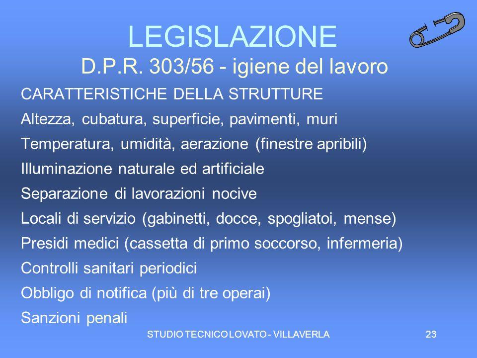 LEGISLAZIONE D.P.R. 303/56 - igiene del lavoro