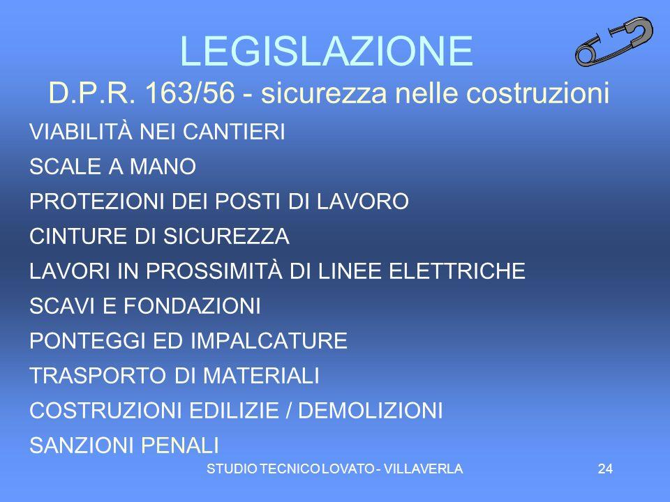 LEGISLAZIONE D.P.R. 163/56 - sicurezza nelle costruzioni