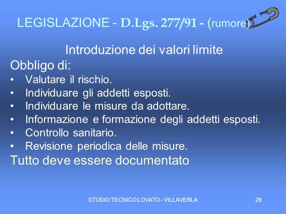 LEGISLAZIONE - D.Lgs. 277/91 - (rumore)