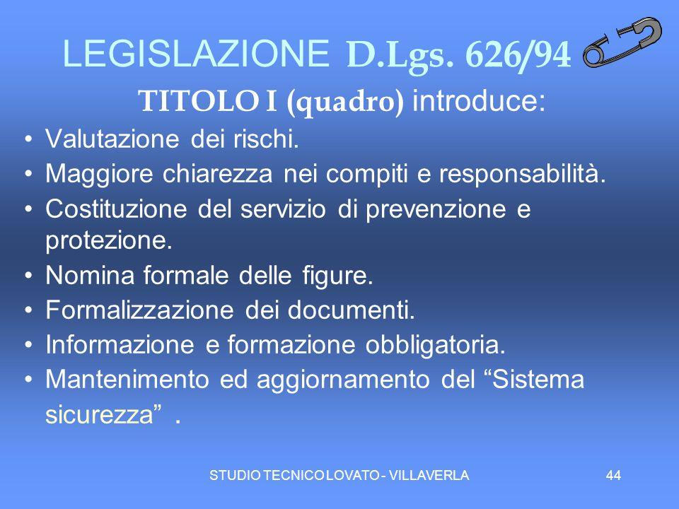 LEGISLAZIONE D.Lgs. 626/94 TITOLO I (quadro) introduce: