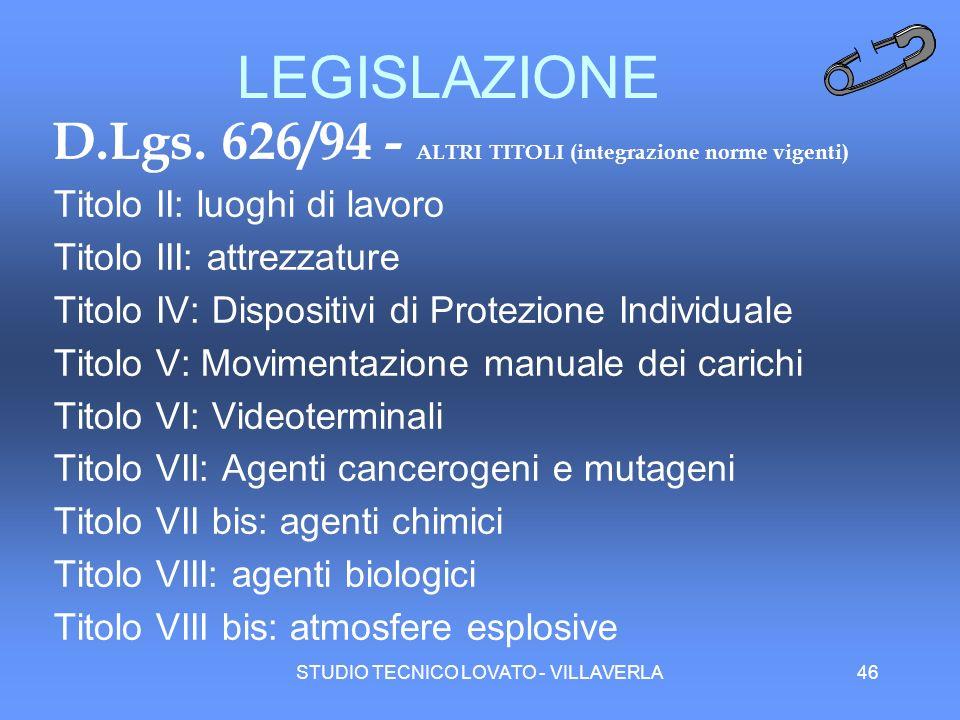 LEGISLAZIONE D.Lgs. 626/94 - ALTRI TITOLI (integrazione norme vigenti)