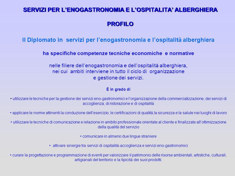 SERVIZI PER L'ENOGASTRONOMIA E L'OSPITALITA' ALBERGHIERA PROFILO