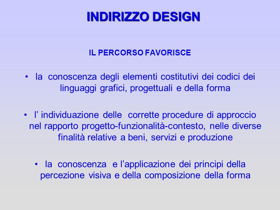 INDIRIZZO DESIGN IL PERCORSO FAVORISCE. la conoscenza degli elementi costitutivi dei codici dei linguaggi grafici, progettuali e della forma.