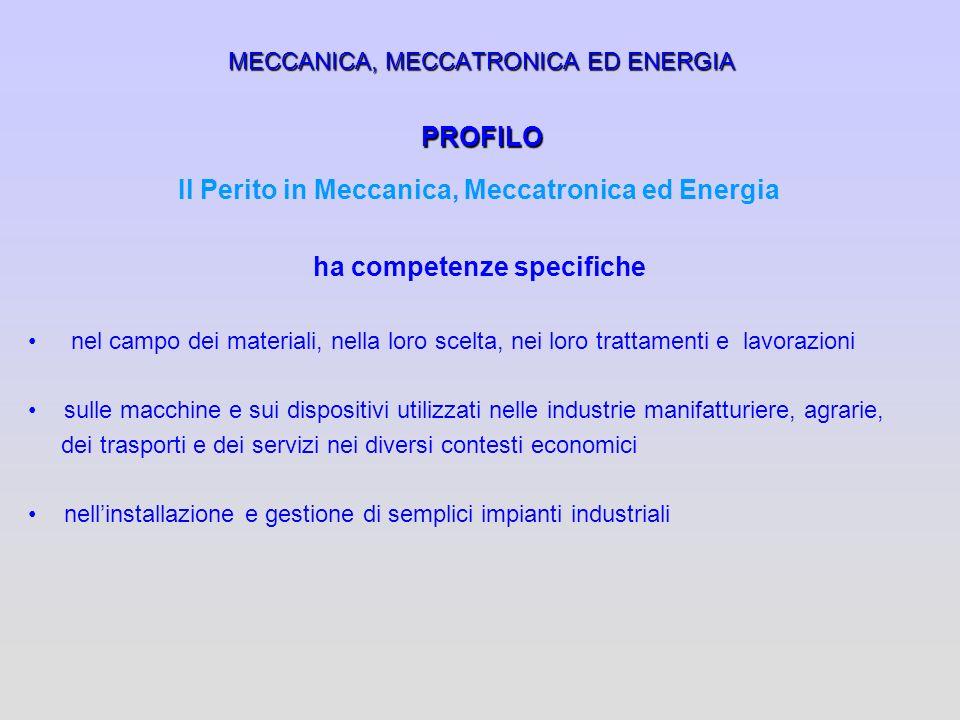 MECCANICA, MECCATRONICA ED ENERGIA PROFILO