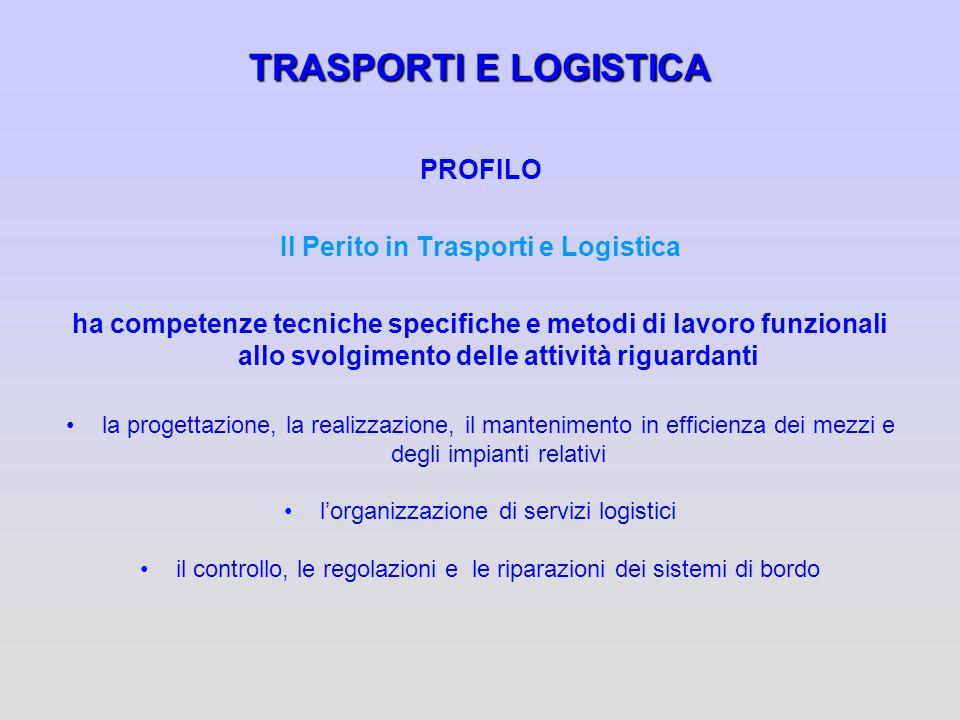 TRASPORTI E LOGISTICA PROFILO Il Perito in Trasporti e Logistica