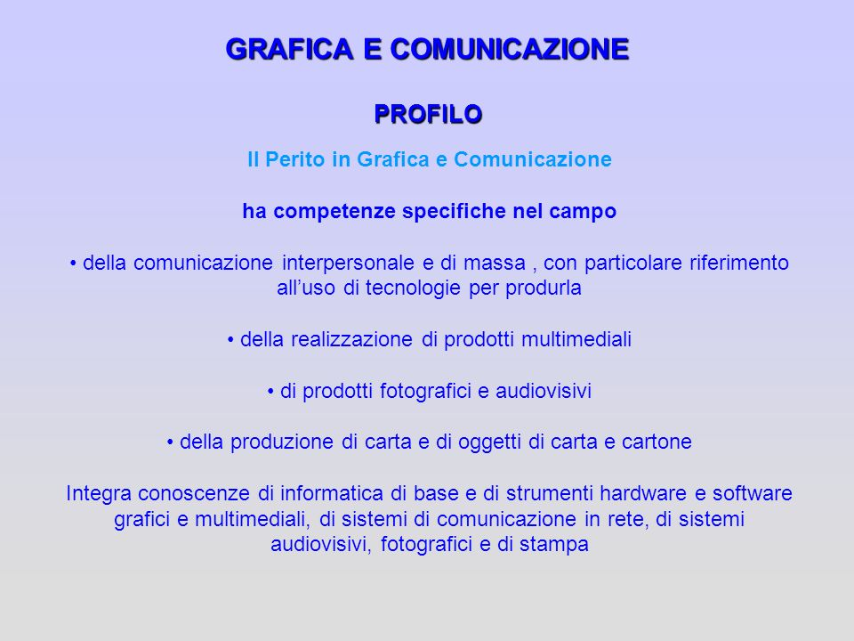 GRAFICA E COMUNICAZIONE PROFILO