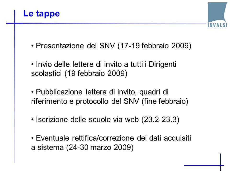 Le tappe Presentazione del SNV (17-19 febbraio 2009)