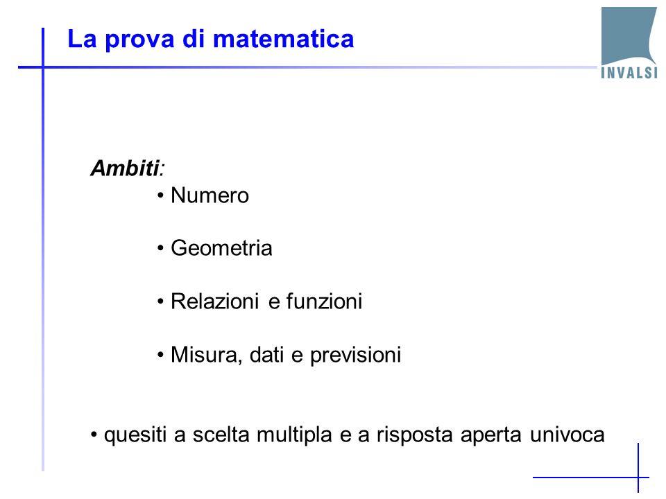 La prova di matematica Ambiti: Numero Geometria Relazioni e funzioni