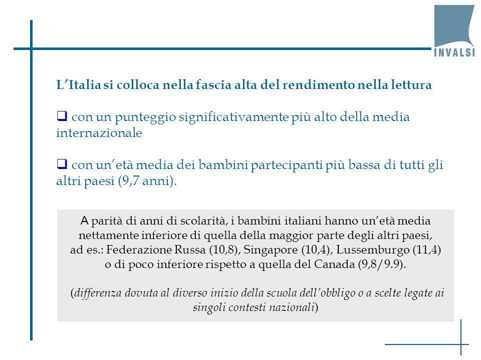L'Italia si colloca nella fascia alta del rendimento nella lettura